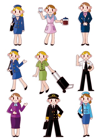 cartoon flight attendantpilot icon Vector