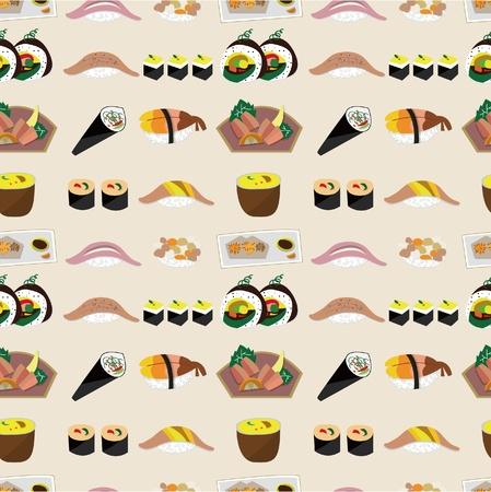 seamless Japanese food pattern Stock Vector - 9719804