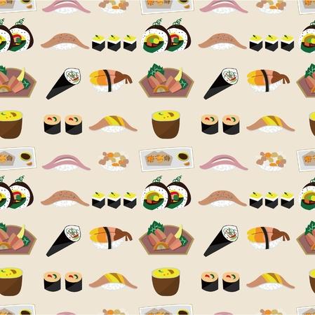 seamless Japanese food pattern Stock Vector - 9719804