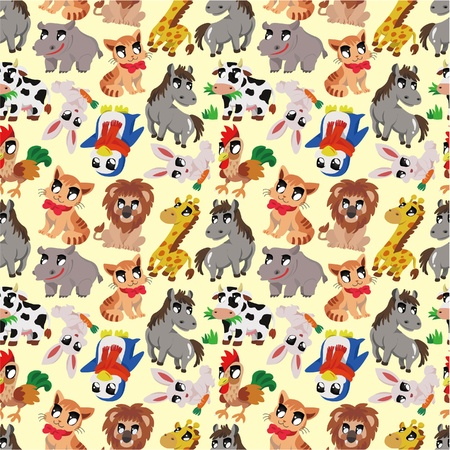 cartoon animal seamless pattern Stock Vector - 9719901