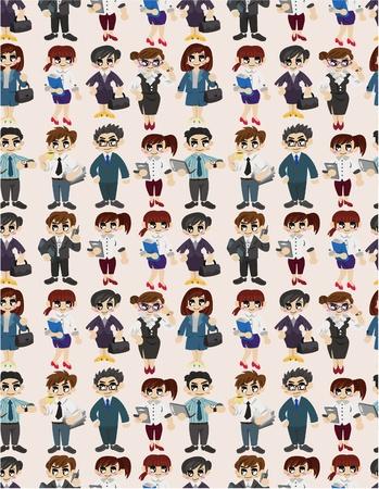seamless cartoon office worker pattern Stock Vector - 9719902