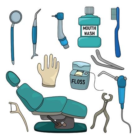 tool icon: cartone animato dentista tool set di icone