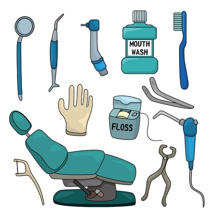 cartoon dentist tool icon set  Vector