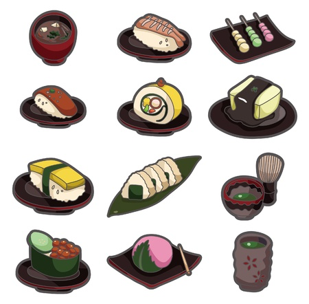 cartoon Japanese food icon set Stock Vector - 9720213