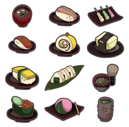 food icon set: cartoon Japanese food icon set