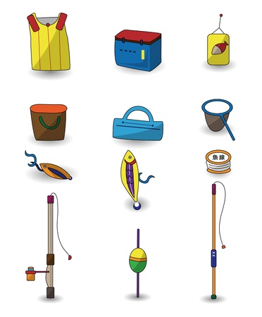 cartoon Fishing icons set  Vector