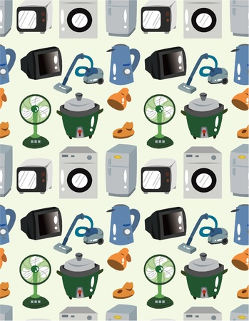 cartoon Home Appliances seamless pattern Vector
