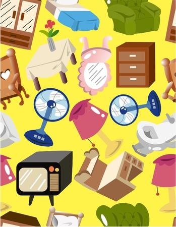 Cartoon Haus der Furnitur seamless pattern