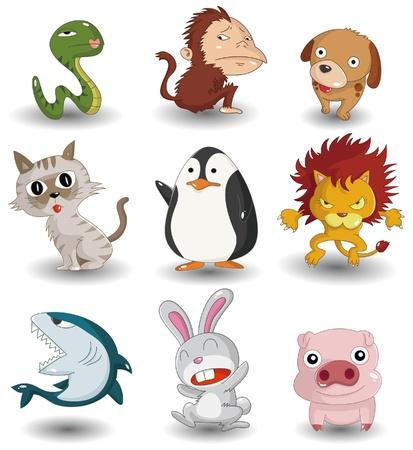 만화 동물 아이콘 세트