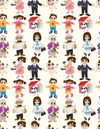 cartoon family seamless pattern Stock Vector - 9721435