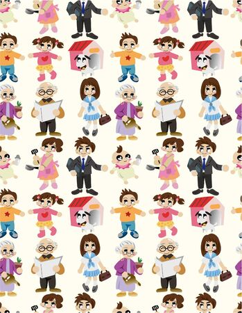 cartoon family seamless pattern Vector