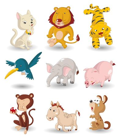 cartoon animal icon set Vector