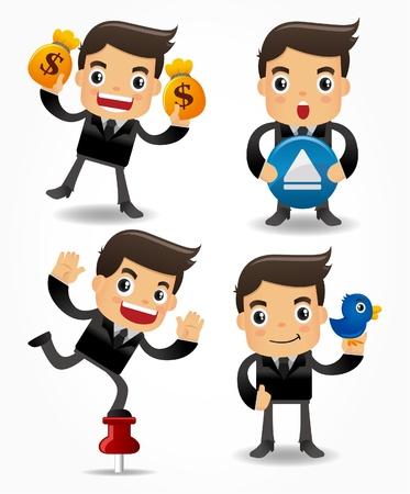 hombre caricatura: conjunto de empleado de Oficina de funny cartoon Vectores