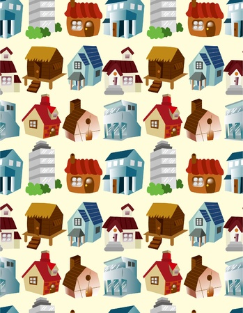 cartoon house seamless pattern Vector