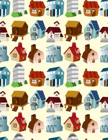 cartoon house seamless pattern Vector