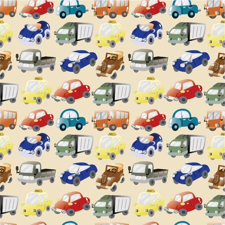 seamless cartoon car pattern  Vector