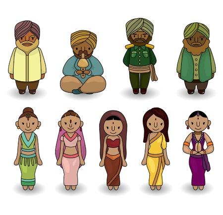 cartoon old man:  cartoon Indian icon set