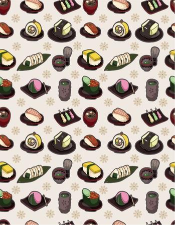 Patrón de comida japonesa transparente  Foto de archivo - 9893006