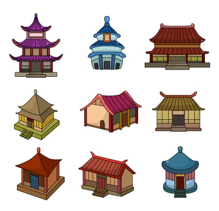 cartoon Chinese house icon set Stock Vector - 9893015