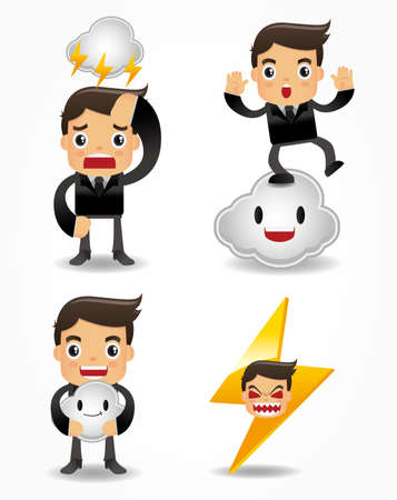 funny cartoon office worker with weather element icon set Stock Vector - 9893017