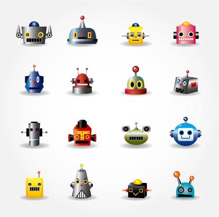 funny robot: ic�ne de visage de dessin anim� robot, web icon set Illustration