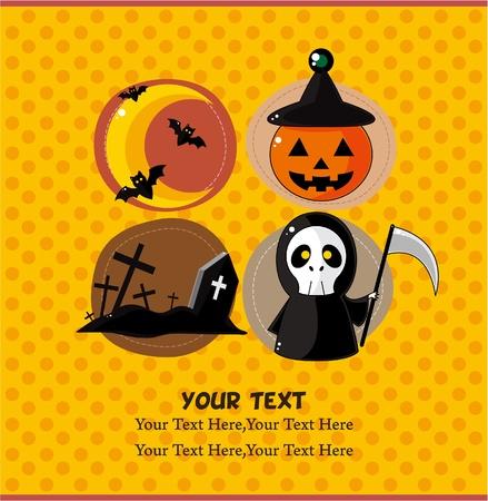 cartoon Halloween  party card Vector
