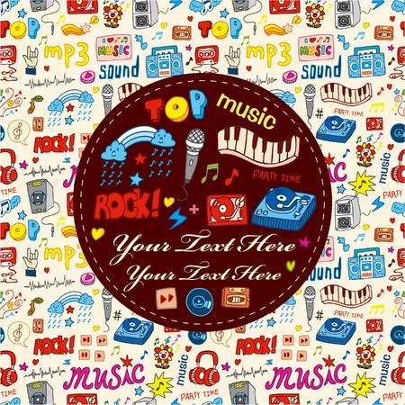 iconos de música: tarjeta de parte de m�sica de dibujos animados Vectores