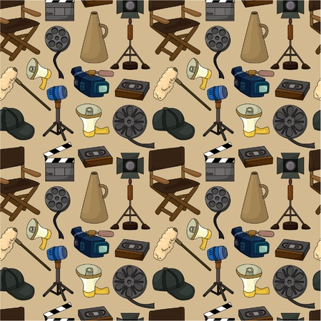 video shooting: cartoon movie element seamless pattern