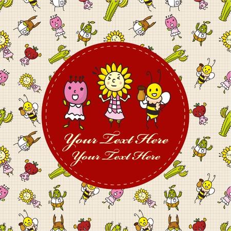 cartoon bug and flower card Stock Vector - 9895674