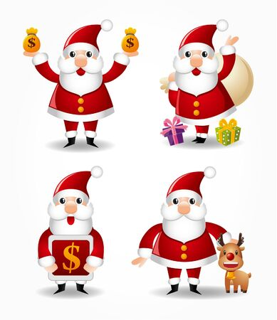 cartoon santa claus icon set Stock Vector - 9895676