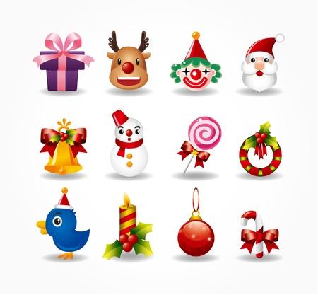 snow wreath: christmas icons set.