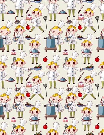 seamless cartoon chef pattern