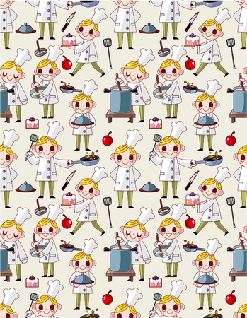 seamless cartoon chef pattern Stock Vector - 9895821