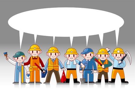 work safety: cartoon worker card