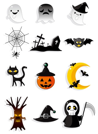 spider net: Halloween icons Illustration