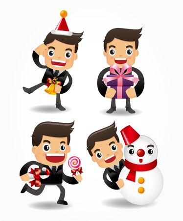 set of funny cartoon office worker with xmas element Stock Vector - 9895830
