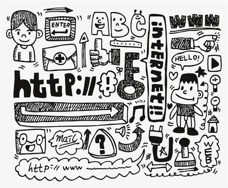 doodle web element icon set  Vector
