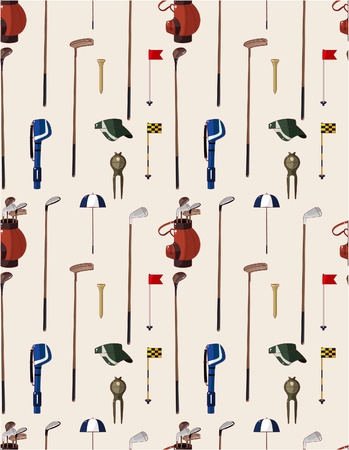 seamless cartoon golf game pattern  Vector