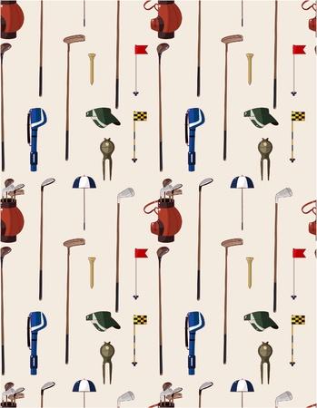 polo sport: seamless cartoon golf game pattern  Illustration