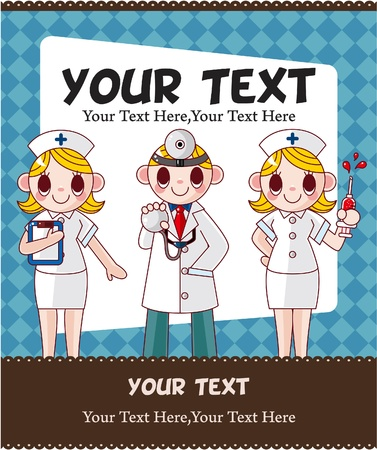 cartoon doctor and nurse card card  Vector