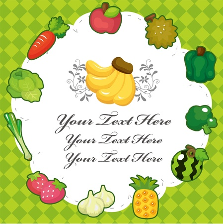 cartoon fruit card Vector