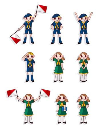 cartoon boygirl scout icon set Vector
