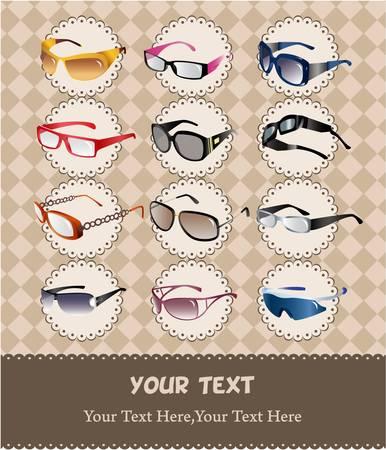 cartoon sunglassesglasses card Vector