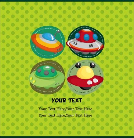 cartoon UFO card Stock Vector - 9895838