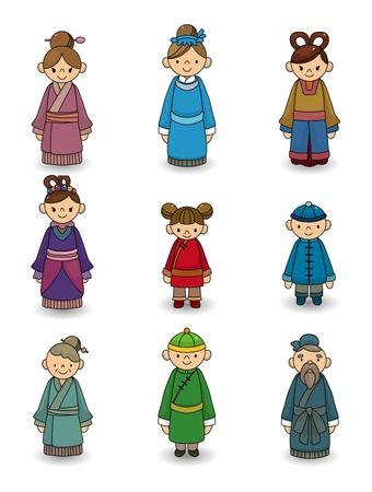 伝統: 漫画のアイコンを設定する中国の人々  イラスト・ベクター素材