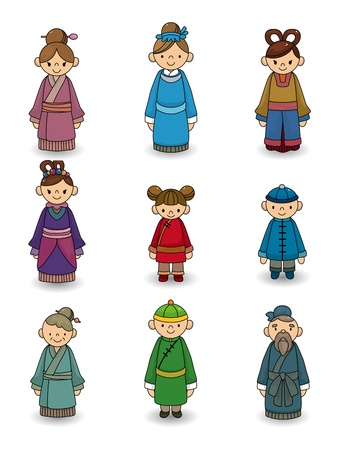 traditions: cartoon Chinese people icon set