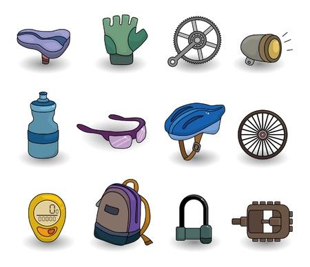cartoon bicycle equipment icon set Vector