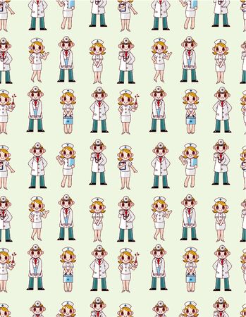 seamless doctor and nurse pattern Vector
