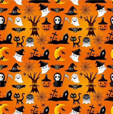 cartoon Halloween seamless pattern Stock Vector - 9896025