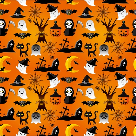 hat trick: Cartoon patr�n transparente de Halloween Vectores